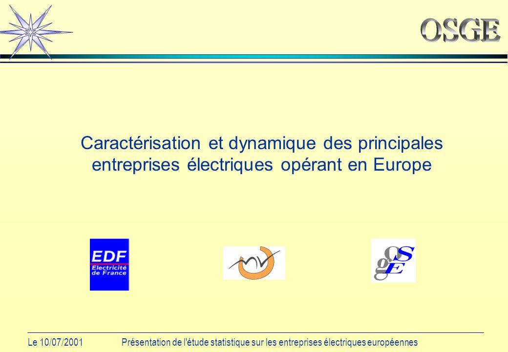 Le 10/07/2001Présentation de l étude statistique sur les entreprises électriques européennes Caractérisation et dynamique des principales entreprises électriques opérant en Europe
