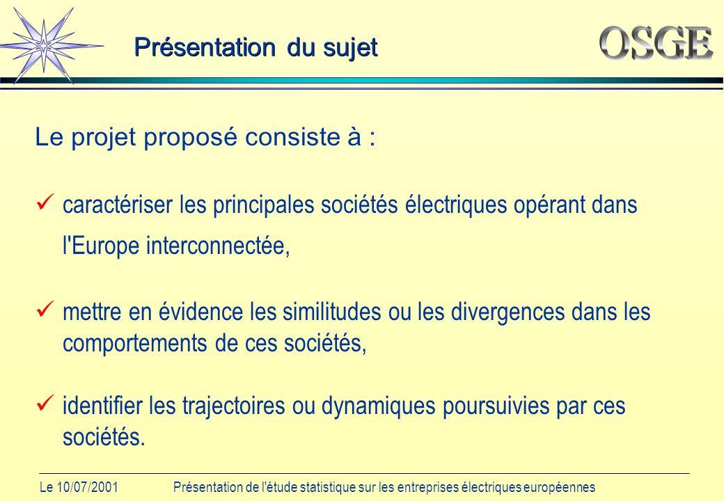 Le 10/07/2001Présentation de l étude statistique sur les entreprises électriques européennes Les différentes étapes Choix des individus : identifier les principaux acteurs européens du secteur électrique.
