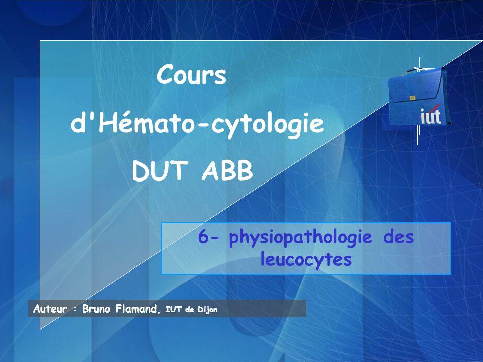 PHYSIOPATHOLOGIE DES LEUCOCYTES 1- GRANULOCYTOPOÏESE cf cours généralités sur Hématopoïèse, et Immunologie cf TP morphologie Précurseurs Régulation: 1 myéloblaste8 polynucléaires en 6/7 jours Séjour sanguin: 10-20H, puis migration, séjour tissulaire 2-3j Sang: secteur circulant + secteur marginé (« réserve »): granulocytes accolés à endothélium vaisseaux (remise en circulation: corticoïdes, stress, exercice physique…) Facteurs de régulation: IL 3, GM-CSF, et G-CSF agissent du stade cellule souche myéloïde au stade promyélocytaire, mais le G-CSF est plus spécifique à la lignée granulocytaire, en augmentant le nombre de progéniteurs et de PN IL1, IL4, IL6 agissent sur progéniteurs myéloïdes (CFU-GEMM, CFU-G, CFU-M) IL5 agit préférentiellement sur la différenciation des précurseurs des PE et sur la fonction des PE matures