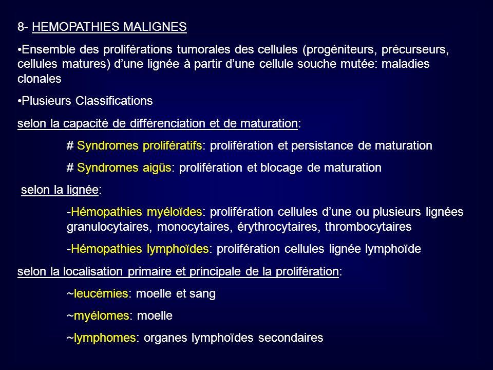 8.1 SYNDROMES MYELOPROLIFERATIFS (SMP) Proliférations des ¢ myéloïdes: précurseurs des lignées Erythrocytaires, Granulo- Moncytaires, et Thrombocytaires Anomalie de prolifération au moins dune lignée : hyperplasie médullaire de la lignée Le risque principal de ces maladies est la thrombose vasculaire, et souvent se développe une myélofibrose, et lévolution fréquente des SMP se fait vers une transformation en Leucémie Aigüe (acutisation) Les différents SMP: -Leucémie Myéloïde Chronique LMC -Polyglobulie primitive (maladie de Vaquez) -Thrombocytémie essentielle -Splénomégalie Myéloïde