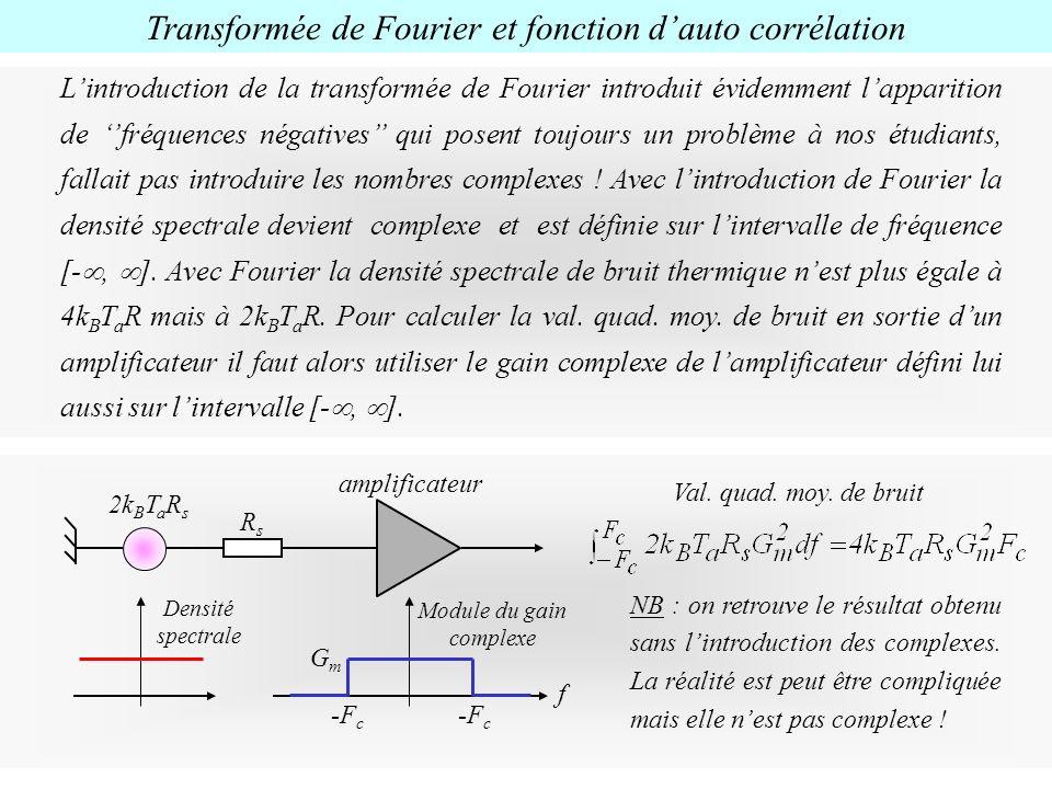Lintroduction de la transformée de Fourier introduit évidemment lapparition de fréquences négatives qui posent toujours un problème à nos étudiants, f