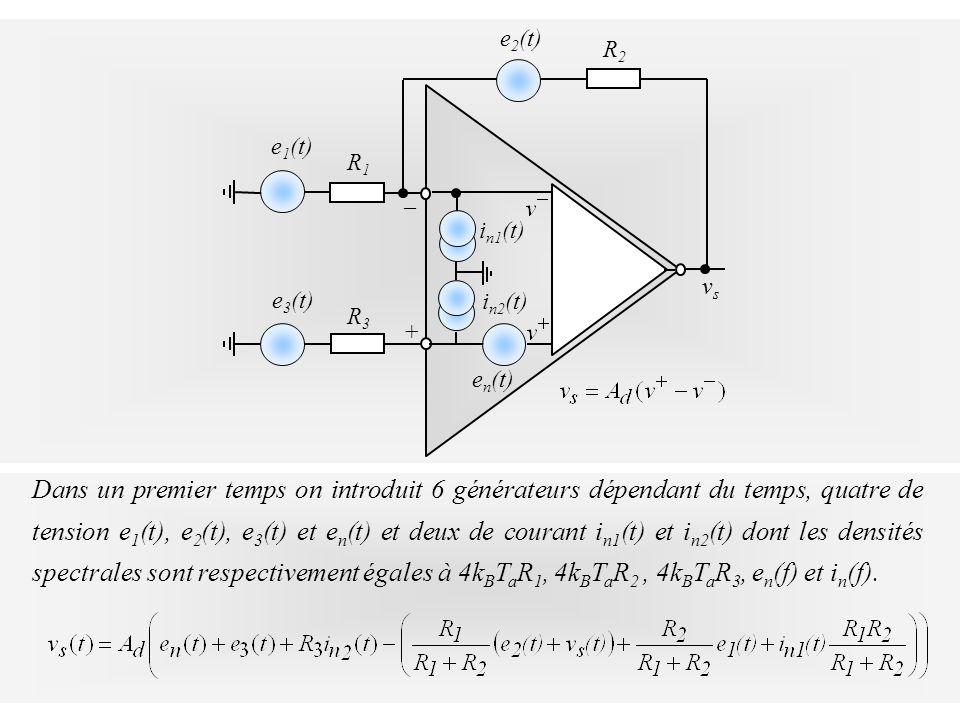 vsvs + _ e n (t) R2R2 e 2 (t) R1R1 e 1 (t) i n1 (t) R3R3 e 3 (t) i n2 (t) Dans un premier temps on introduit 6 générateurs dépendant du temps, quatre