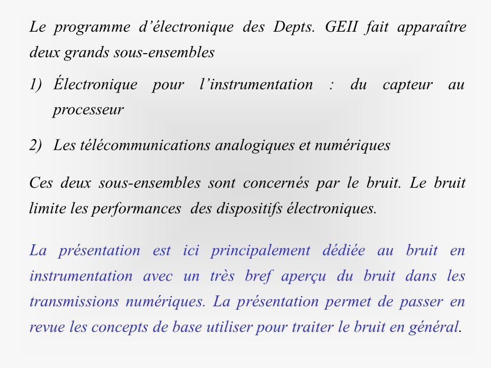 1)Électronique pour linstrumentation : du capteur au processeur 2)Les télécommunications analogiques et numériques Le programme délectronique des Dept
