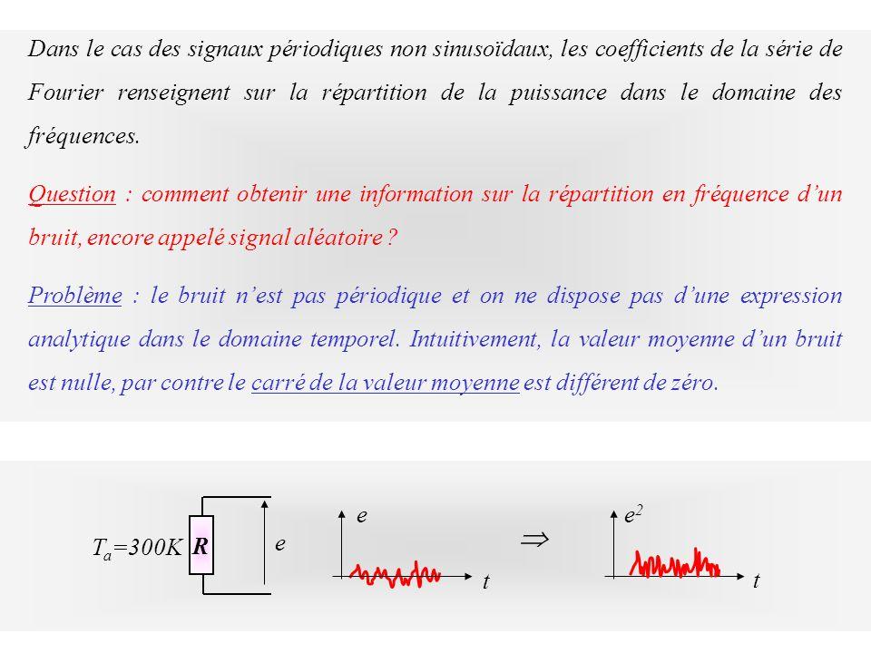 Dans le cas des signaux périodiques non sinusoïdaux, les coefficients de la série de Fourier renseignent sur la répartition de la puissance dans le do