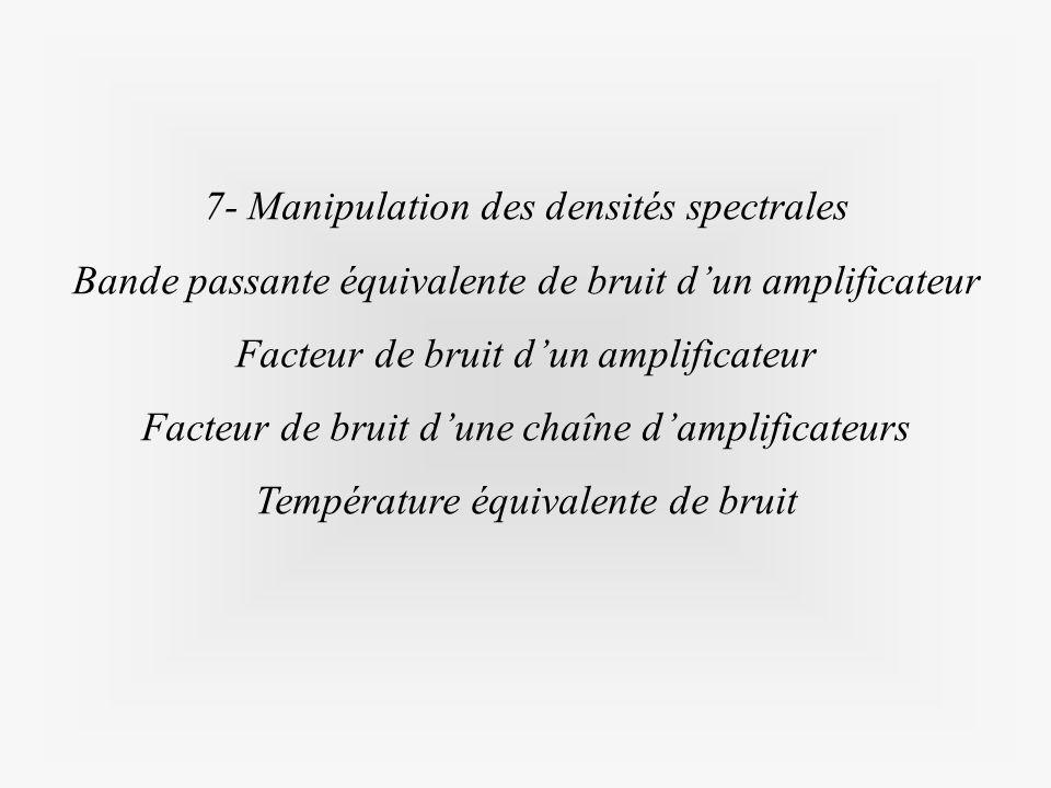 7- Manipulation des densités spectrales Bande passante équivalente de bruit dun amplificateur Facteur de bruit dun amplificateur Facteur de bruit dune