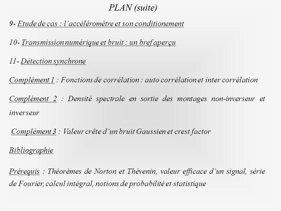 9- Etude de cas : laccéléromètre et son conditionementEtude de cas : laccéléromètre et son conditionement 10- Transmission numérique et bruit : un bre
