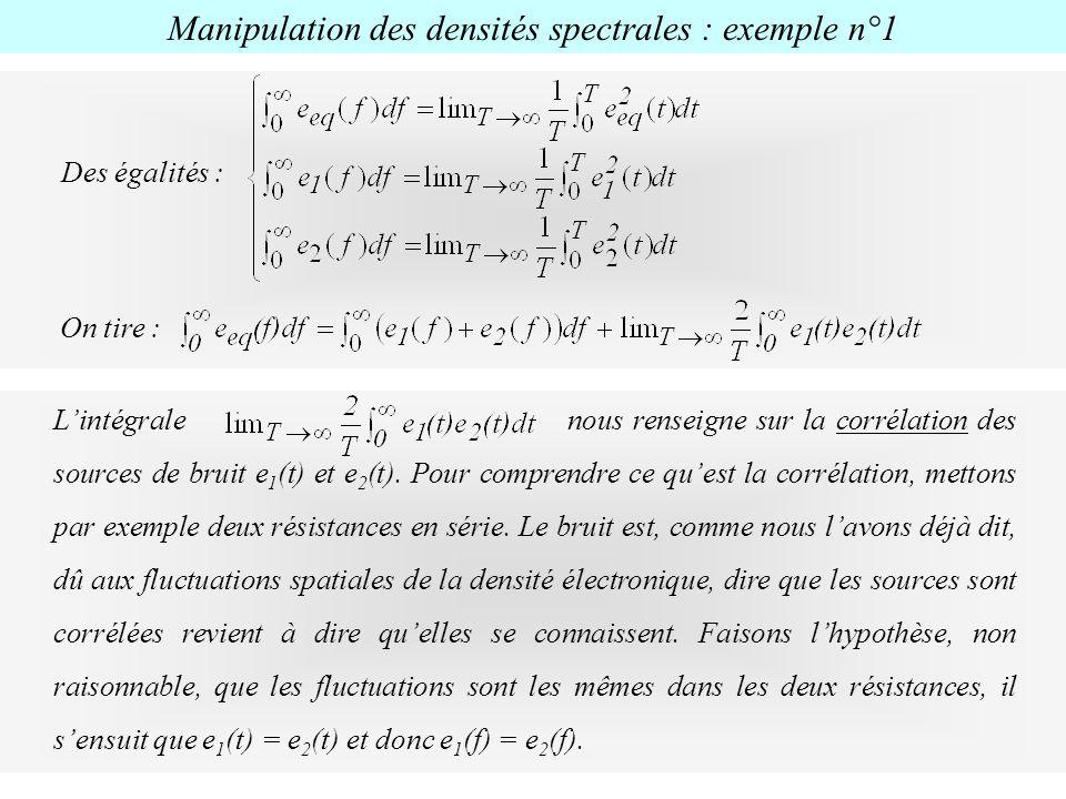 Des égalités : On tire : Lintégrale nous renseigne sur la corrélation des sources de bruit e 1 (t) et e 2 (t). Pour comprendre ce quest la corrélation