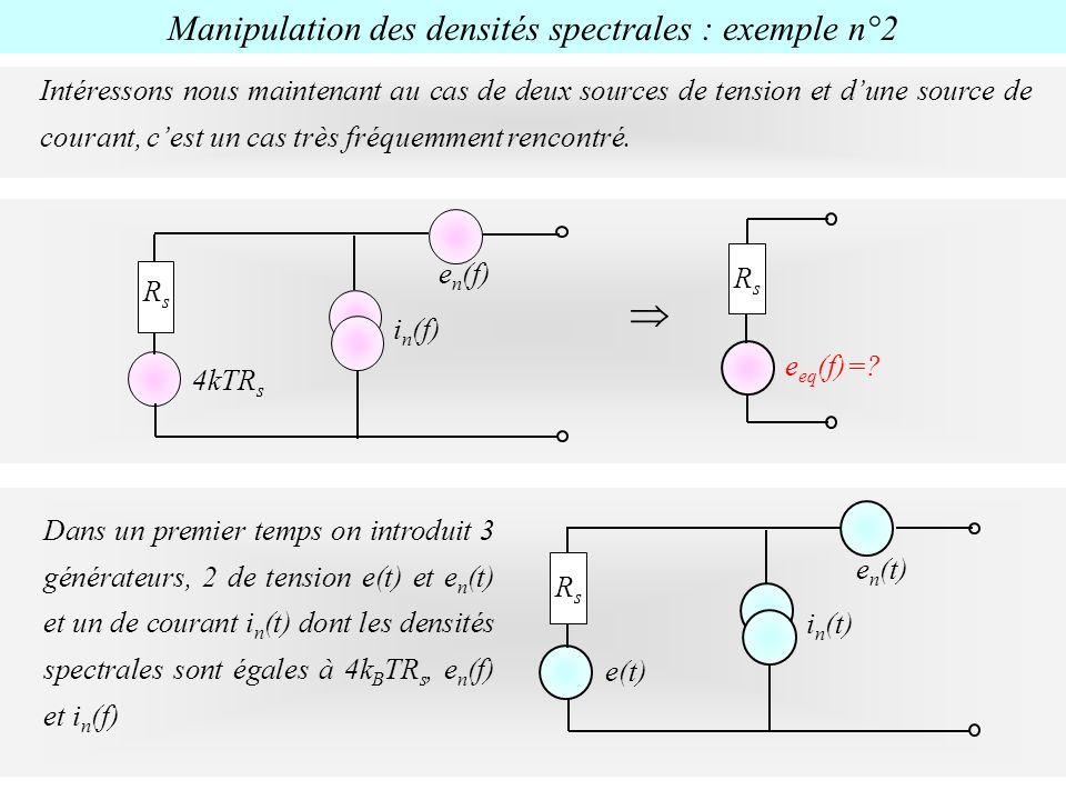 e eq (f)=? RsRs e n (f) 4kTR s i n (f) RsRs Dans un premier temps on introduit 3 générateurs, 2 de tension e(t) et e n (t) et un de courant i n (t) do