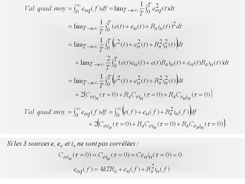 Si les 3 sources e, e n et i n ne sont pas corrélées :