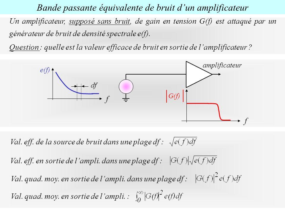 Bande passante équivalente de bruit dun amplificateur Un amplificateur, supposé sans bruit, de gain en tension G(f) est attaqué par un générateur de b