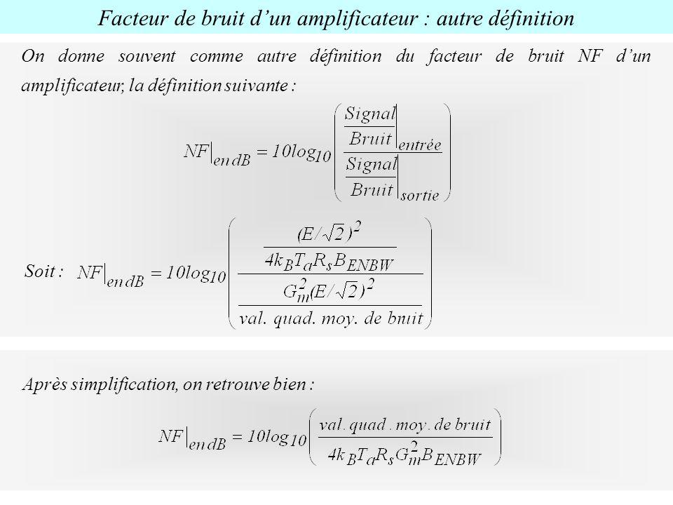 Facteur de bruit dun amplificateur : autre définition On donne souvent comme autre définition du facteur de bruit NF dun amplificateur, la définition