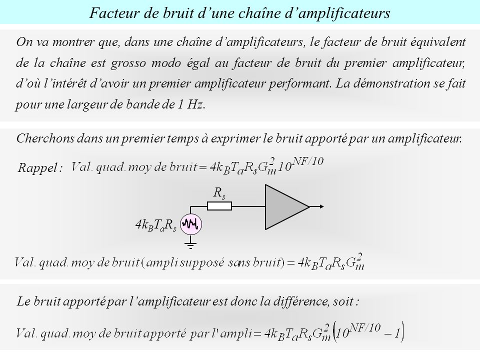 On va montrer que, dans une chaîne damplificateurs, le facteur de bruit équivalent de la chaîne est grosso modo égal au facteur de bruit du premier am