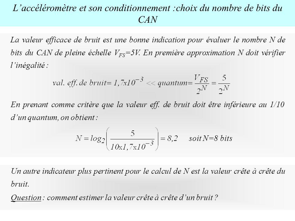 Laccéléromètre et son conditionnement :choix du nombre de bits du CAN La valeur efficace de bruit est une bonne indication pour évaluer le nombre N de