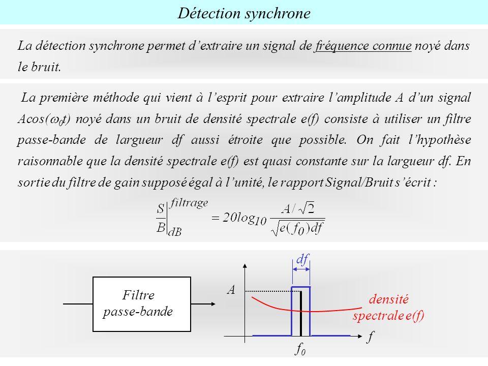 Détection synchrone La détection synchrone permet dextraire un signal de fréquence connue noyé dans le bruit. f densité spectrale e(f) f0f0 A df Filtr