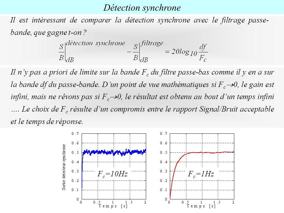 Détection synchrone Il est intéressant de comparer la détection synchrone avec le filtrage passe- bande, que gagne t-on ? Il ny pas a priori de limite