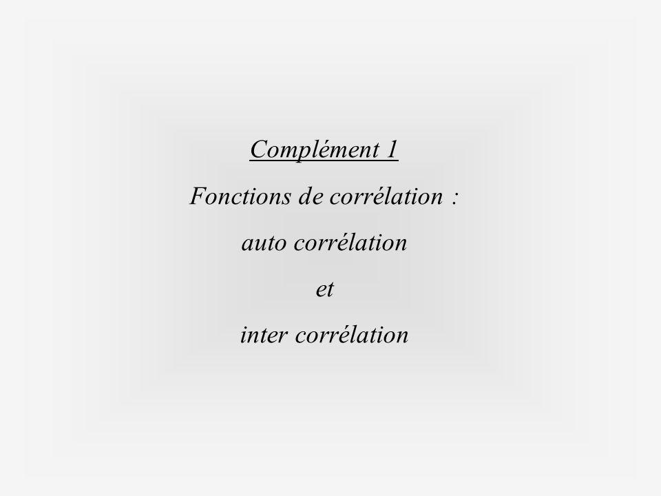 Complément 1 Fonctions de corrélation : auto corrélation et inter corrélation