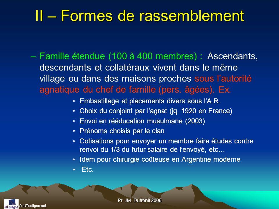 © IUTenligne.net Pr. JM. Dutrénit 2008 II – Formes de rassemblement –Famille étendue (100 à 400 membres) : Ascendants, descendants et collatéraux vive