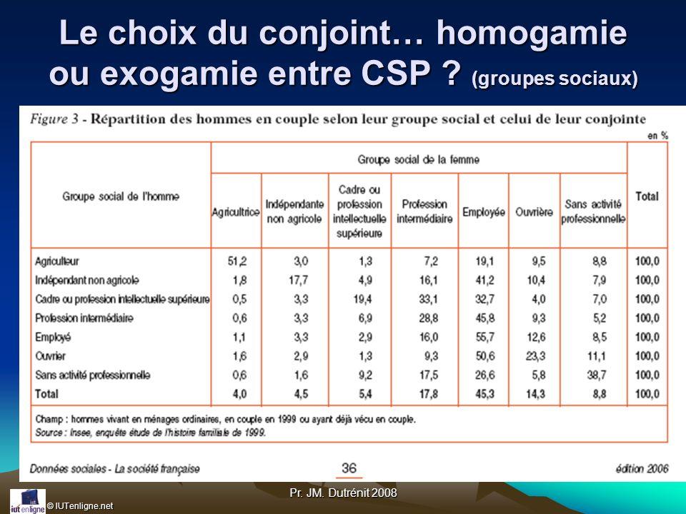 © IUTenligne.net Pr. JM. Dutrénit 2008 Le choix du conjoint… homogamie ou exogamie entre CSP ? (groupes sociaux)