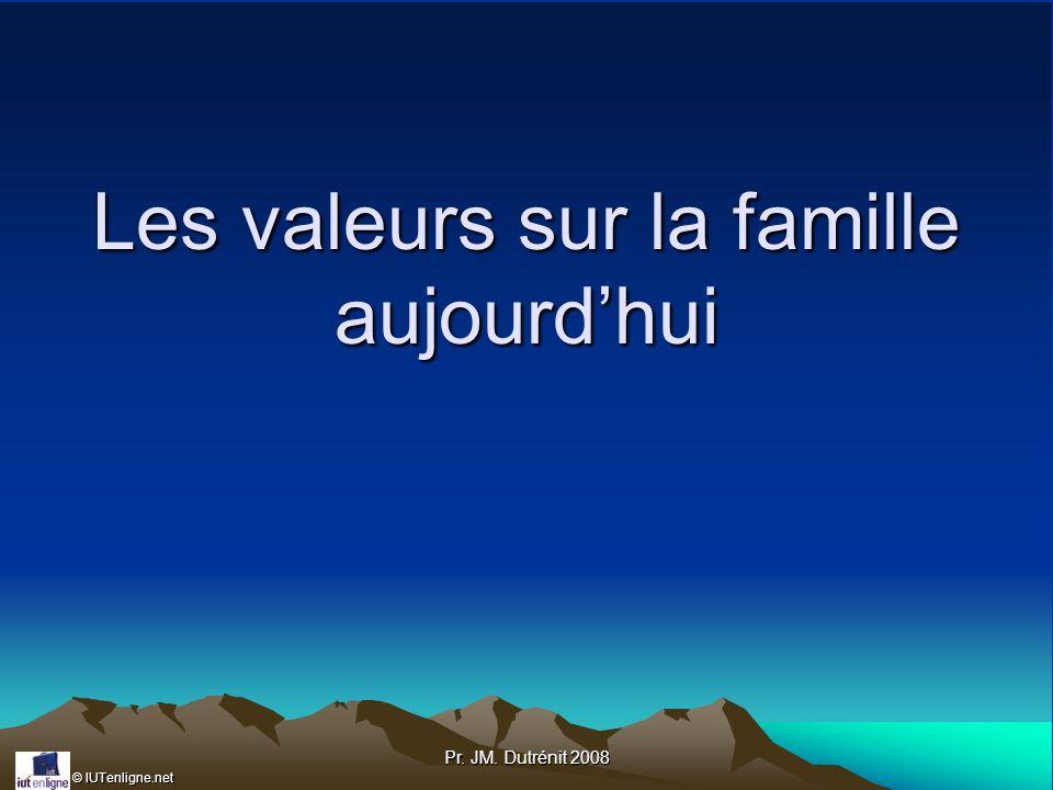 © IUTenligne.net Pr. JM. Dutrénit 2008 Les valeurs sur la famille aujourdhui