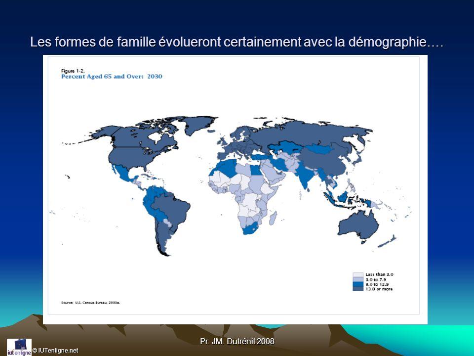 © IUTenligne.net Pr. JM. Dutrénit 2008 Les formes de famille évolueront certainement avec la démographie….