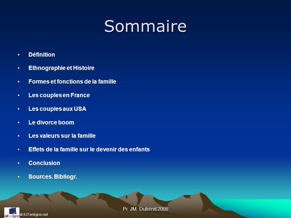 © IUTenligne.net Pr. JM. Dutrénit 2008 Sommaire Définition Ethnographie et Histoire Formes et fonctions de la famille Les couples en France Les couple