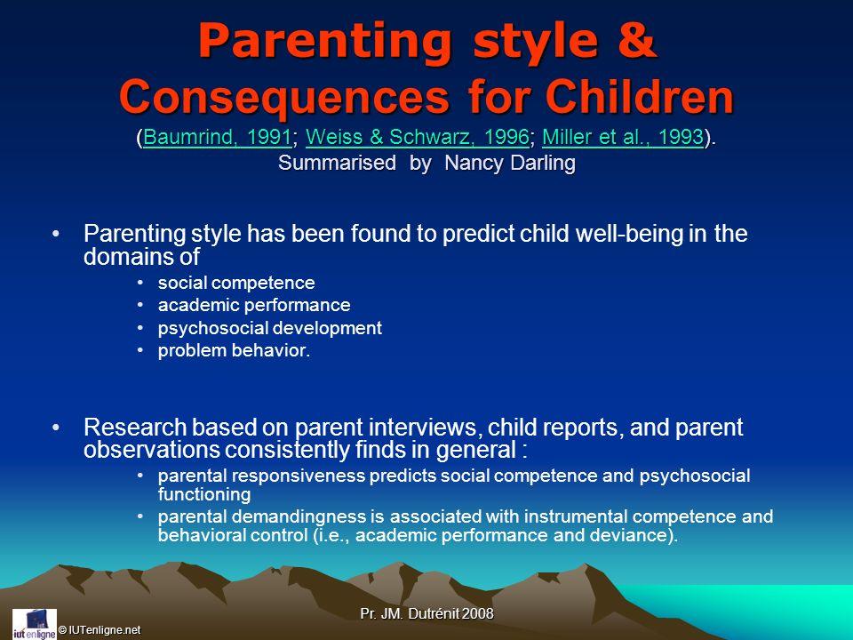 © IUTenligne.net Pr. JM. Dutrénit 2008 Parenting style & Consequences for Children (Baumrind, 1991; Weiss & Schwarz, 1996; Miller et al., 1993). Summa