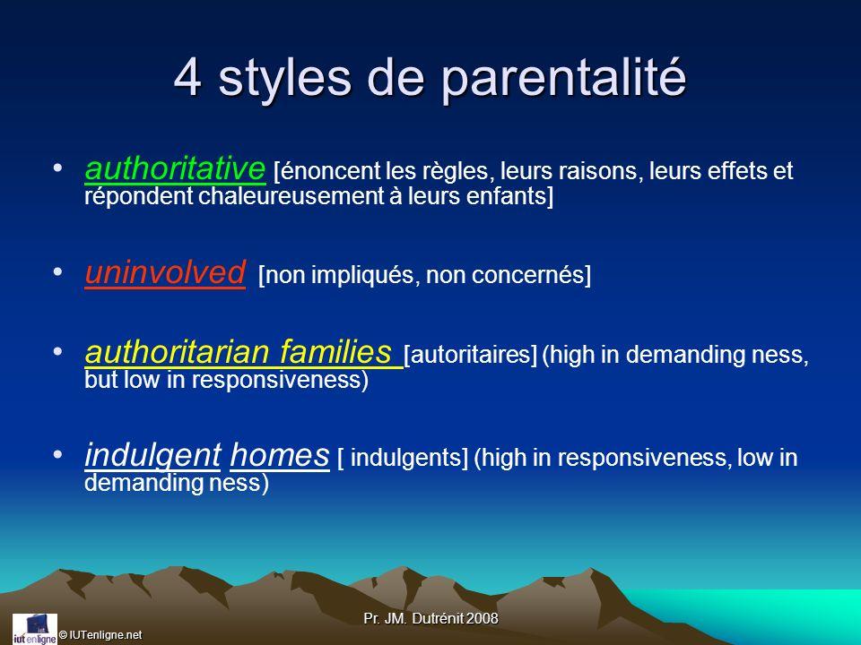 © IUTenligne.net Pr. JM. Dutrénit 2008 4 styles de parentalité authoritative [énoncent les règles, leurs raisons, leurs effets et répondent chaleureus