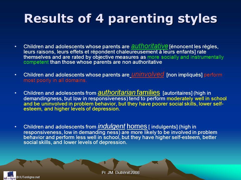 © IUTenligne.net Pr. JM. Dutrénit 2008 Results of 4 parenting styles Children and adolescents whose parents are authoritative [énoncent les règles, le