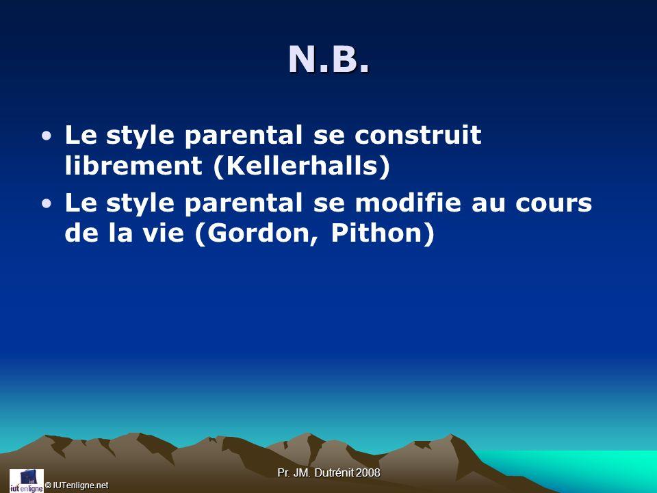 © IUTenligne.net Pr. JM. Dutrénit 2008 N.B. Le style parental se construit librement (Kellerhalls) Le style parental se modifie au cours de la vie (Go
