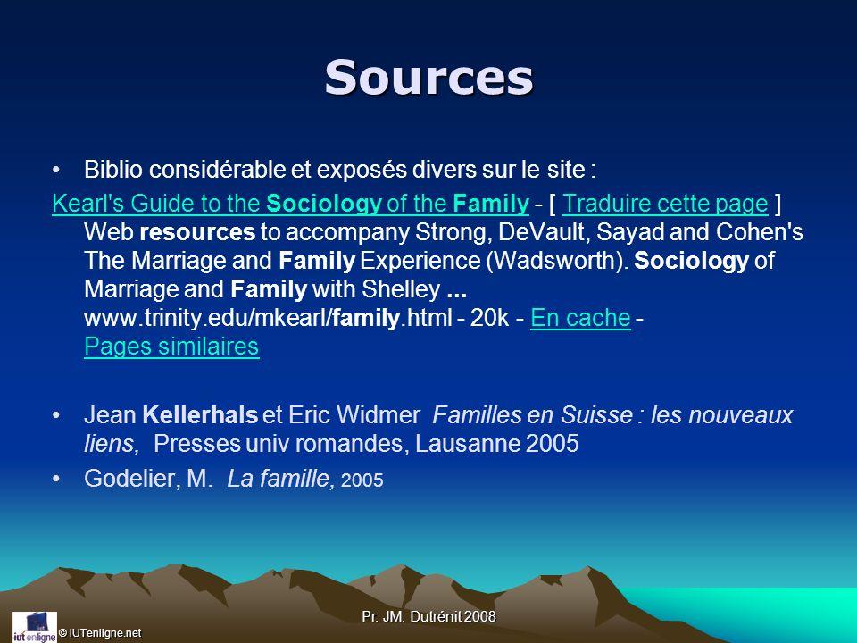 © IUTenligne.net Pr. JM. Dutrénit 2008 Sources Biblio considérable et exposés divers sur le site : Kearl's Guide to the Sociology of the FamilyKearl's
