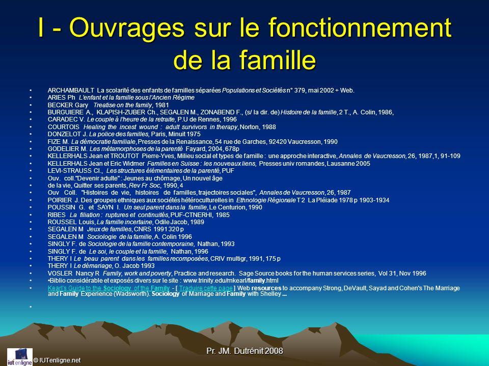 © IUTenligne.net Pr. JM. Dutrénit 2008 I - Ouvrages sur le fonctionnement de la famille ARCHAMBAULT La scolarité des enfants de familles séparées Popu