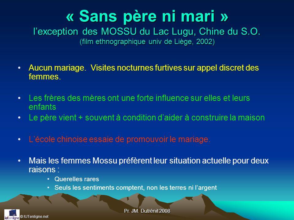 © IUTenligne.net Pr. JM. Dutrénit 2008 « Sans père ni mari » lexception des MOSSU du Lac Lugu, Chine du S.O. (film ethnographique univ de Liège, 2002)