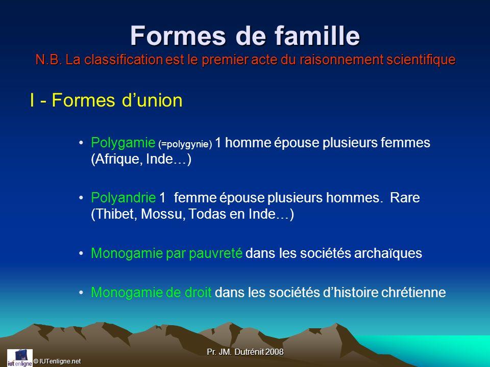 © IUTenligne.net Pr. JM. Dutrénit 2008 Formes de famille N.B. La classification est le premier acte du raisonnement scientifique I - Formes dunion Pol