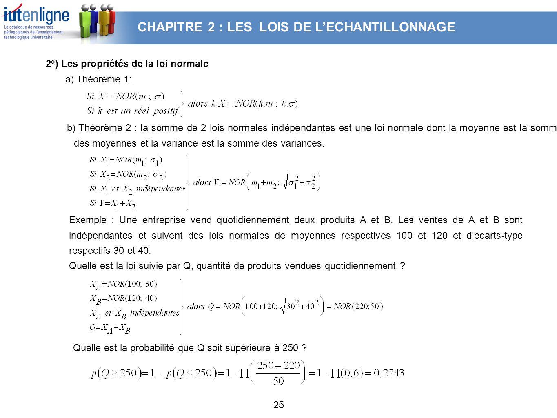 25 2°) Les propriétés de la loi normale a) Théorème 1: Exemple : Une entreprise vend quotidiennement deux produits A et B. Les ventes de A et B sont i
