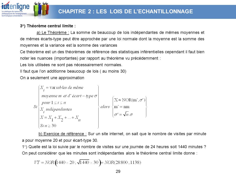 29 3°) Théorème central limite : a) Le Théorème : La somme de beaucoup de lois indépendantes de mêmes moyennes et de mêmes écarts-type peut être appro