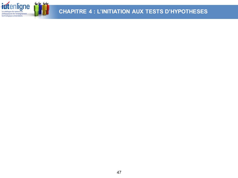 47 CHAPITRE 4 : LINITIATION AUX TESTS DHYPOTHESES