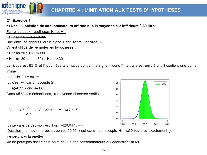 57 b) Une association de consommateurs affirme que la moyenne est inférieure à 30 litres. Ecrire les deux hypothèses H 0 et H 1. H 0 : m<30 ; H 1 : m3