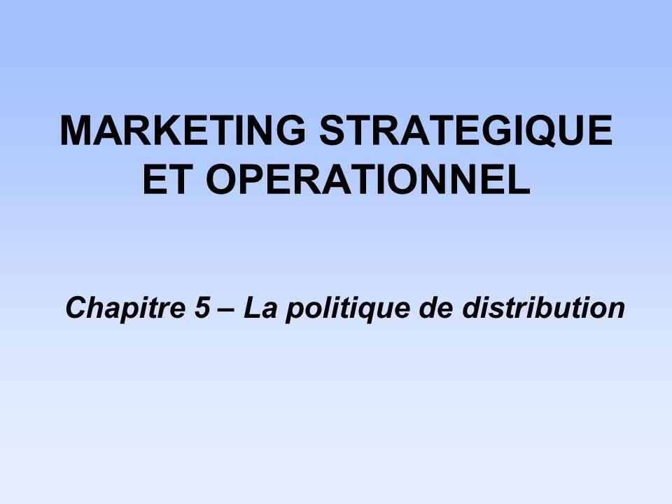 MARKETING STRATEGIQUE ET OPERATIONNEL Chapitre 5 – La politique de distribution