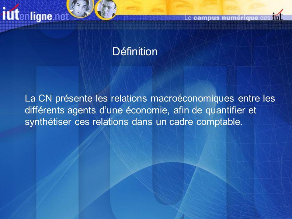 La CN présente les relations macroéconomiques entre les différents agents dune économie, afin de quantifier et synthétiser ces relations dans un cadre