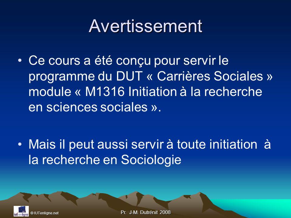 © IUTenligne.net Pr.J-M. Dutrénit 2008 Le mémoire traite un sujet général Ex.