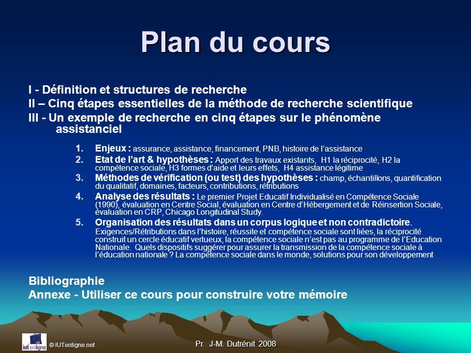 © IUTenligne.net Pr. J-M. Dutrénit 2008 I Définition et structures de recherche