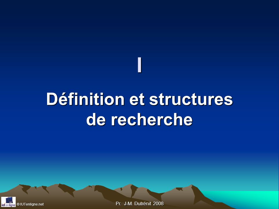 © IUTenligne.net Pr.J-M. Dutrénit 2008 Comment associer sujet général et stage .