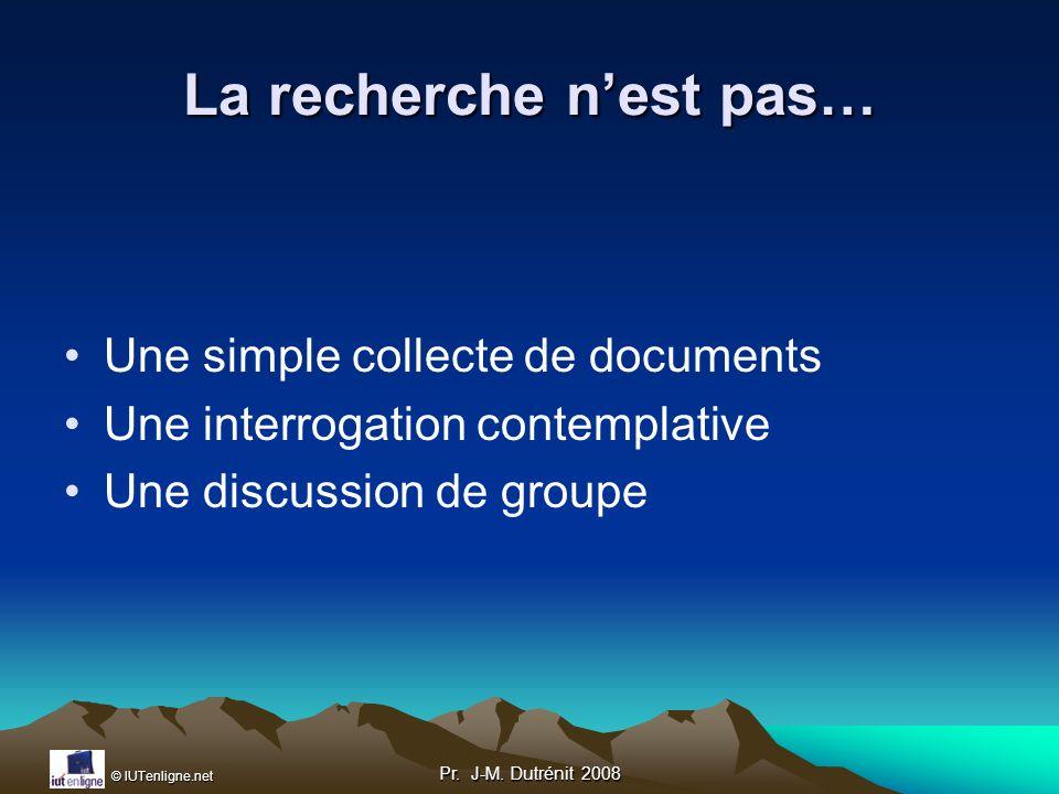 © IUTenligne.net Pr.J-M. Dutrénit 2008 2 ème étape : état de lart & hypothèses Etat de lArt.
