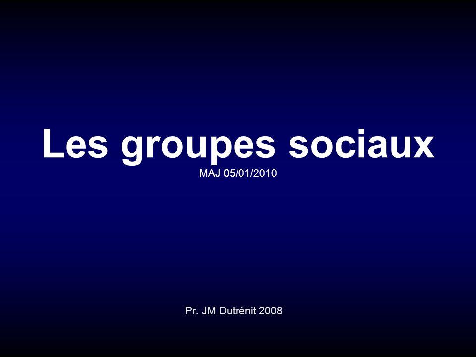 Les groupes sociaux MAJ 05/01/2010 Pr. JM Dutrénit 2008