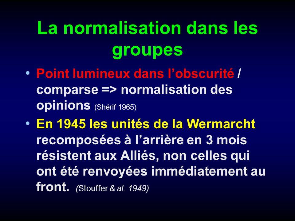 La normalisation dans les groupes Point lumineux dans lobscurité / comparse => normalisation des opinions (Shérif 1965) En 1945 les unités de la Werma