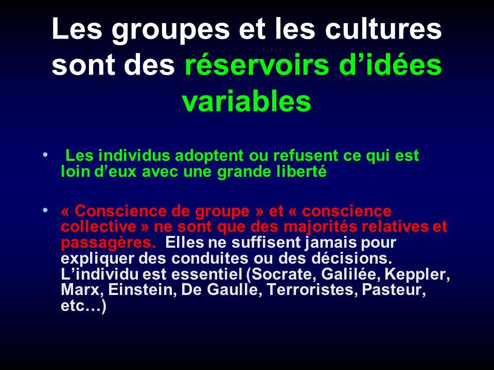 Les groupes et les cultures sont des réservoirs didées variables Les individus adoptent ou refusent ce qui est loin deux avec une grande liberté « Con