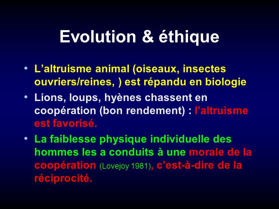Evolution & éthique Laltruisme animal (oiseaux, insectes ouvriers/reines, ) est répandu en biologie Lions, loups, hyènes chassent en coopération (bon