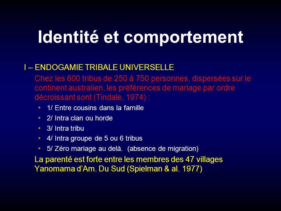 Identité et comportement I – ENDOGAMIE TRIBALE UNIVERSELLE Chez les 600 tribus de 250 à 750 personnes, dispersées sur le continent australien, les pré