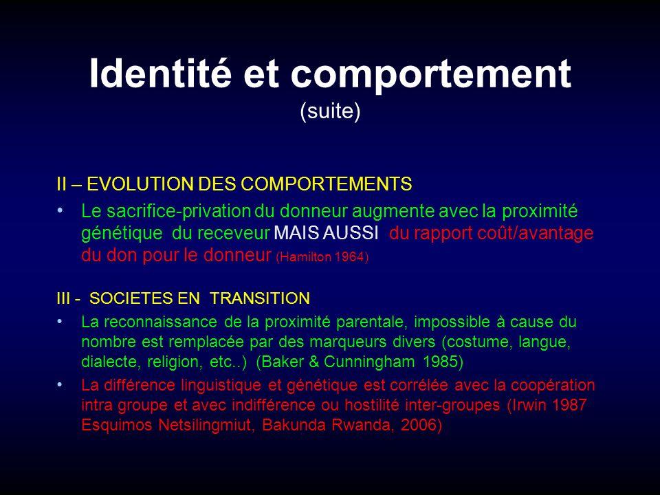 Identité et comportement (suite) II – EVOLUTION DES COMPORTEMENTS Le sacrifice-privation du donneur augmente avec la proximité génétique du receveur M