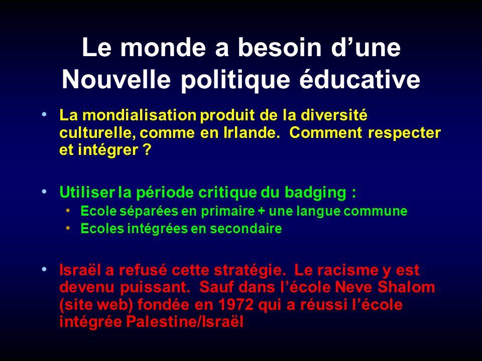 Le monde a besoin dune Nouvelle politique éducative La mondialisation produit de la diversité culturelle, comme en Irlande. Comment respecter et intég